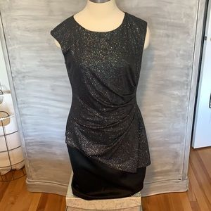Black asymmetrical glitter dress